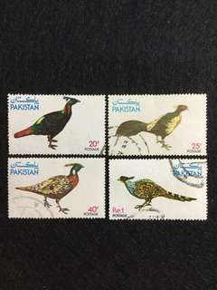 1979 Pakistan Wildlife Protection 5th Series Pheasants 4V Used Set Complete Set