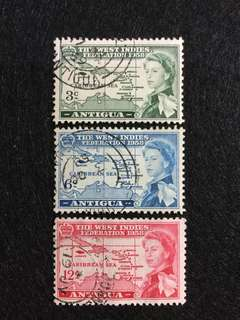 1958 Antigua West Indies Federation  (SG135-137 £4.00) 3 Values Used Set