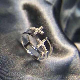 個性風格雙十字架18k金天然鑽石雙層戒指💍男女可戴對戒情侶戒指🎁全新紀念日生日禮物