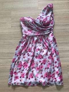 One Shoulder Dress in Pink Blossom