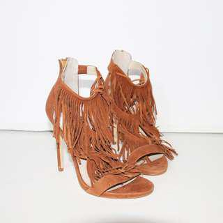 WINDSOR SMITH Gemini Tan Suede High Heel Shoes