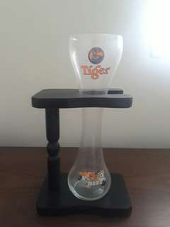 Tiger SOCCER mania glass with wooden stand