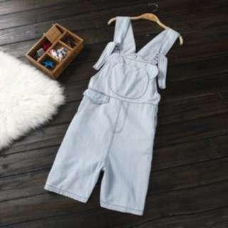 韓版 熊熊藍白條紋吊帶褲