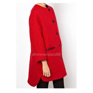 Red Wool blend collarless coat RRP$179