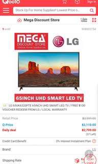 "LG UHD smart tv 65"" including wall tv mount"