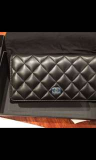 Chanel Double Wallet Calfskin Smooth Black