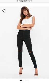 PETITE missguided knee rip jeans size 4