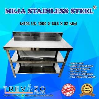 Meja Dapur / Kompor Stainless Steel MT 3 Rak Metalco