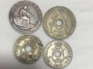 1870-1929年 比利時 錢幣 4枚