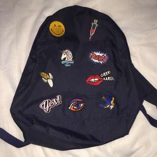 Patch navy backpack