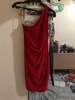Red Venus cut cocktail dress