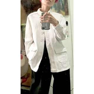 白色單寧軍裝古著感外套