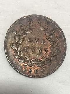 1889年 沙勞越(馬來亞)One Cent 銅幣
