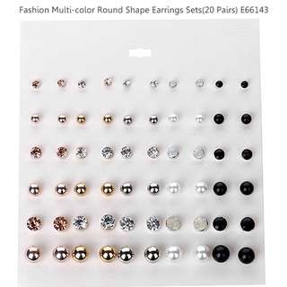 Fashion Multi-color Round Shape Decorated Earrings Sets(20 Pairs) E66143