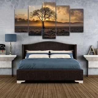 🚚 (PO) 5 Panel Sunrise Canvas Wall Art