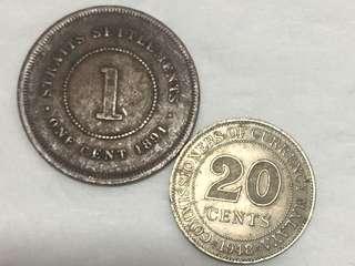 海峽殖民地(馬來半島) 1891年 One Cent 及 1948年 20 Cents