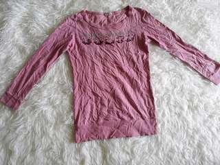 Baju lengan panjang pink