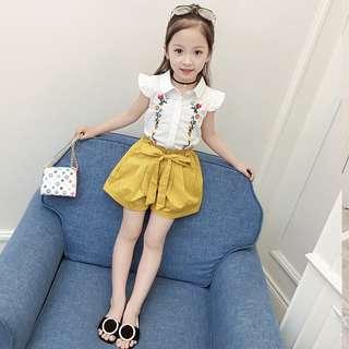 🚚 《預購》童裝女童套裝夏裝韓版時尚洋氣薄款短袖兒童套裝中大童兩件套