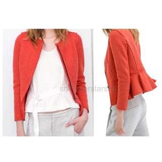 Zara Coral Peplum Wool Blend Zipped Jacket Blazer RRP$159