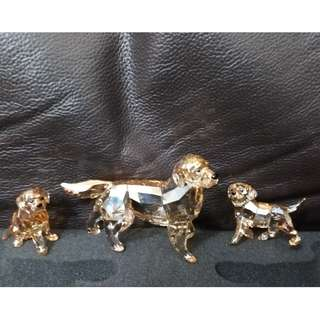 Swarovski Golden Retriever Set: Mother+Standing & Sitting Puppy, MIB