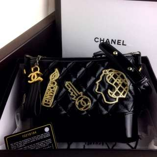CHANEL Gabrielle Embellished Gold Metal Small Hobo Bag SS18