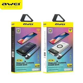 Power Bank powerbox AWEI 新品上市🔥🔥🔥 自带线双输出无线快充 P71K 双USB输出+无线快充,3台手机同时充电 容量:10000mAh,聚合物电池,安全安心 LED显示屏,电量一目了然 纯铜大线圈,充电更快 防过充,过放,过压,过流保护 AWEI new power bank P71K *10000mah *Qi wireless charger function *Hidden Micro USB