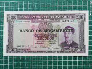 🚚 Mozambique 500 Escudos 1967 UNC