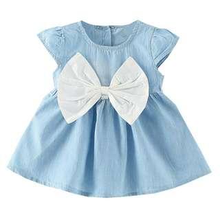 Dress Princess Pita Bahan Soft Jeans READY 6mo 1y 3y