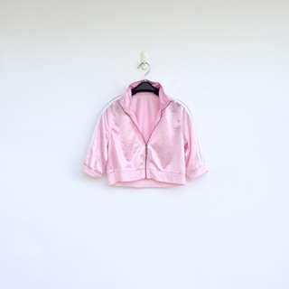二手 粉紅 亮面 短版 外套 明太子 702