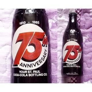 85年美國Your St. Paul可口可樂瓶廠75週年紀念玻璃樽一枝