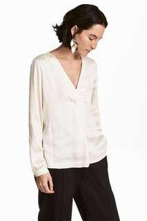 OshareGirl 06 歐美女士輕熟風格簡約派仿絲綢緞長袖襯衫