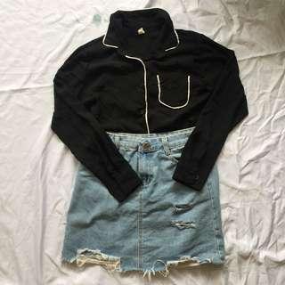 Black Lining Top + Denim Skirt