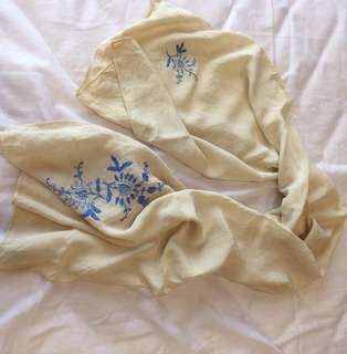 European ivory and blue silk embroidered scarf