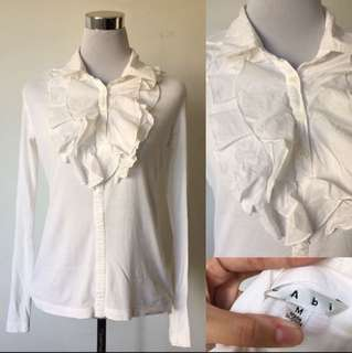 White Ruffled Collared Blouse