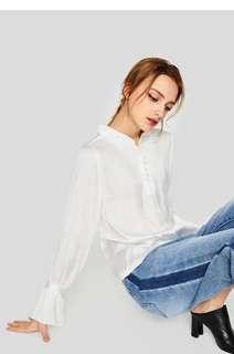 OshareGirl 06 歐美女士純色絲綢光感荷葉立領喇叭袖口襯衫式上衣
