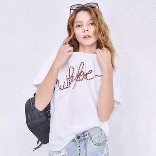 🚚 OshareGirl 06 歐美女士鑲鑽釘珠字母T恤上衣短袖上衣