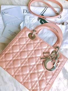 Lady Dior 漆皮五格 dirty pink 粉紅手袋