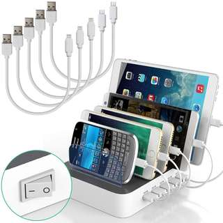 1047. IMLEZON Multi Device USB Charging Station Organizer for Multiple Devices IMLEZON 5 - Port 5V 8A Total 40W - White, including Short Cables 3 for Apple and 2 for Android