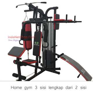 Alat Fitnes Angkat Beban Home Gym 3 Sisi Paling Bagus + Sit Up Bench