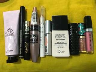 primer mascara eyeshadow lipstick lipgloss liptint