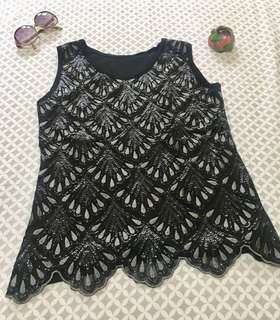 Beaded and embroidered black top