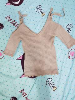 Nude colour ribbons Knitted Top