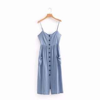Cotton buttoned cami dress