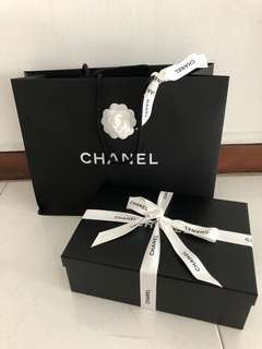 chanel shoe box with pape bag