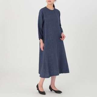 Muji French Linen 3/4 Sleeve Dress