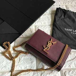 Ysl mini chain bag in ox blood