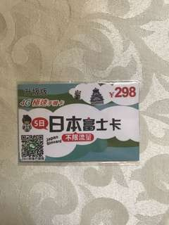 日本富士卡 上網卡 不限流量 5日4G極速手機卡