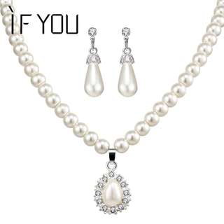 Pearl Design Earring and Necklace Jewelry Set for Women