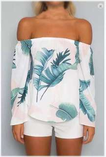 White Printed Off shoulder blouse