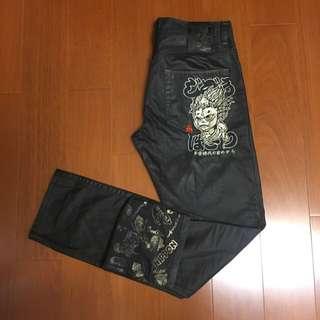 🚚 (Size 32w) 地藏小王 超帥黑金配色牛仔褲